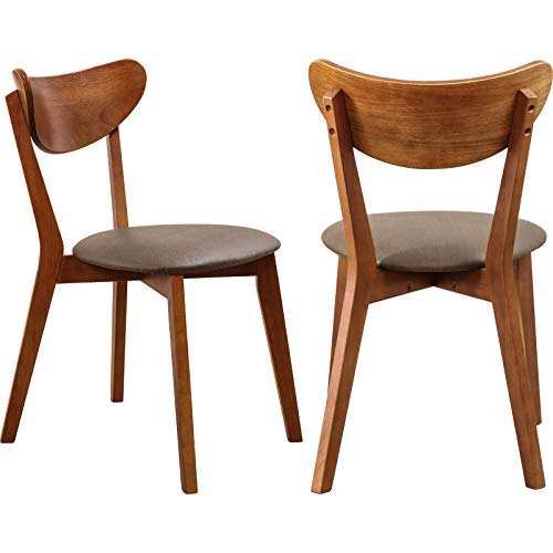 Solid Wood Living Dining Chair Walnut Wood Finish with Elastic Sponge Cushion for Desk Office Home(Pack for 2)