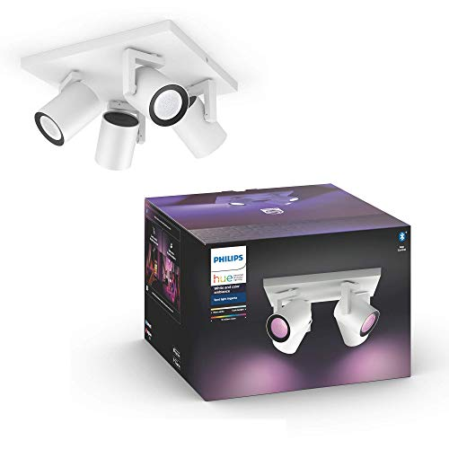 Philips Hue Argenta White & Colour Ambiance Smart 4x Ceiling Spotlight Plate LED (GU10) with Bluetooth