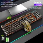 Orange Backlit 2.4G Rechargeable Mechanical Feel Ergonomic Gaming Keyboard + 2400DPI 6 Buttons Optical LED Gaming Mouse + Free Gaming Mouse Pads (Black/Orange)