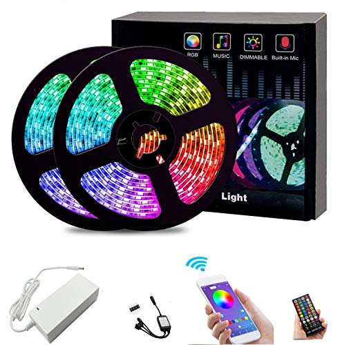 LED Strips Lights15M RGB Rope Lights Color Changing with Bluetooth Controller Apply for TV
