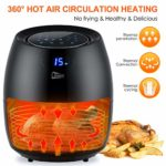 Rapid Air Circulation System Adjustable Temperature and 30 Minute Timer for Healthy Oil Free & Low Fat 1800W
