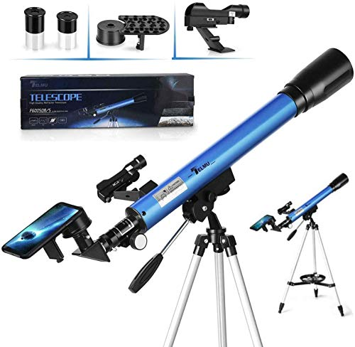 TELMU Kids Telescopes for Astronomy 50mm Aperture & 600mm Focal Length Portable Telescope with Adjustable Tripod and Finder Scope 30X & 48X Refractor For Beginners