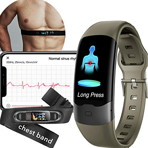 AUPALLA Activity Tracker With ECG Monitor Measure Blood Oxygen Monitor Pulse Oxygen Saturation SpO2 Blood Pressure Heart Rate HRV Sleep Monitor Steps Counting ECG Measurement with Chest Strap