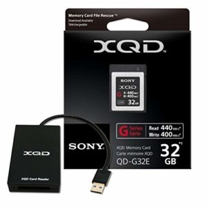 New 32GB XQD High Speed G-Series Flash Memory Card ver.2020 with XQD USB 3.0 Reader ( Read 440MB/s and Write 400MB/s) - QDG32E-R-20USB