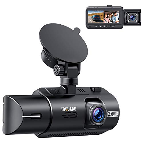 """TOGUARD Dual Dash Cam 4K Front and 1080P Inside Cabin GPS In Car Dashboard Camera 3.2"""" IPS Screen Dashcam for Cars with IR Night Vision"""