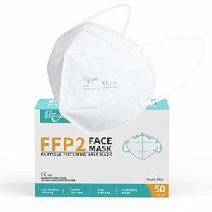 FFP2 Disposable Face Masks Mouth Cover >95% 5 Layer Filtration System 50PCS/Carton