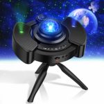 KPCB Tech Galaxy Projector Light with Tripod Stand and Double Speakers Projects Starry Night Sky with Aurora Star and Earth USB Powered Black