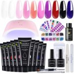 10 Colours Polygel Nail Extension Kit with Lamp Quick Nail Builder Enhancement Easy Polygel Kit for Starter and Technician with Rhinestone Cat Eye Ombre Stickers Slip Solution