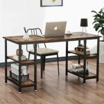 Modern Sturdy Table Office Desk with 4 Tier Storage Shelves for Small Spaces