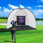 HWLY Golf Hitting Net Driving Range Golf Practice Nets for Backyard Indoor Use with Target Carry Bag