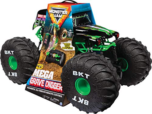 Monster Jam Official Mega Grave Digger All-Terrain Remote Control Monster Truck with Lights