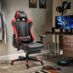 Dripex Gaming Chair Ergonomic Home Office Desk Chairs Adjustable High Back Swivel PU Leather Racing Computer Desk Chair with Lumbar Support and Headrest (Red