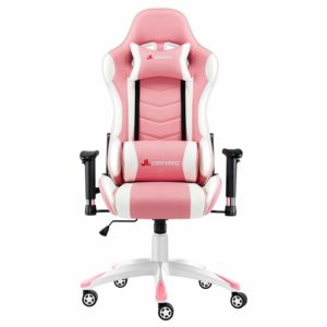 JL Comfurni Gaming Chair Racing Chair Ergonomic Recliner PC Computer Chair High-Back PU Swivel Office Desk Chair with Adjustable Headrest and Lumbar Support Pink