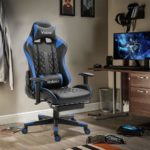 Dripex Gaming Chair Ergonomic Home Office Desk Chairs Adjustable High Back Swivel PU Leather Racing Computer Desk Chair with Lumbar Support and Headrest (Blue
