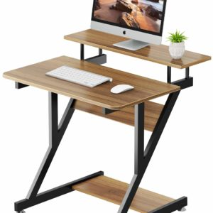 Computer Desk with Monitor Shelf - Z Shaped Home Office Desk with Storage Shelves for Small Spaces