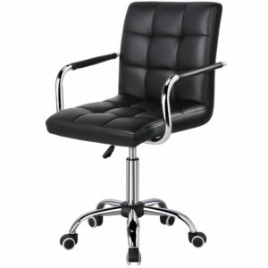 Yaheetech Black Adjustable Faux Leather Swivel Office Chair Gas Lift Stool Home Office Furniture
