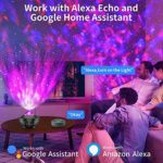 Night Light Projector with APP & Voice Control Music Bluetooth Speaker Timer for Home Stage Bedroom for Alexa/Google Home for Kids Adults