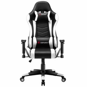 JL Comfurni Gaming Chair Racing Chair Ergonomic Recliner PC Computer Chair High-Back PU Swivel Office Desk Chair with Adjustable Headrest and Lumbar Support White
