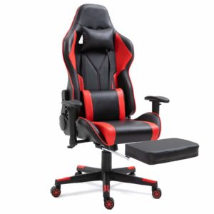 Dripex Gaming Chair Ergonomic Office Chair Adjustable Swivel Leather Racing Computer Desk Chair with Lumbar Support and Headrest for Adult and Kid (Red