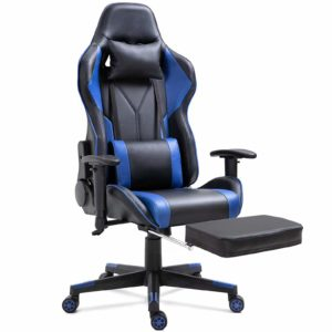 Dripex Gaming Chair Ergonomic Office Chair Adjustable Swivel Leather Racing Computer Desk Chair with Lumbar Support and Headrest for Adult and Kid (Blue