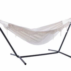 Vivere UHSDO8-00 Double Cotton Natural Hammock with Stand