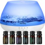 Homasy 500 Milliliter Essential Oil Diffuser with Top 6 Essential Oils Set