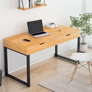 Puselo Computer Desk Study Writing Table with Drawers Laptop Desk 100x48x76cm (Maple)