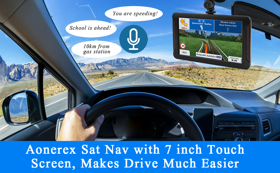 Aonerex Sat Nav with 7 inch Touch Screen, Makes Drive Much Easier