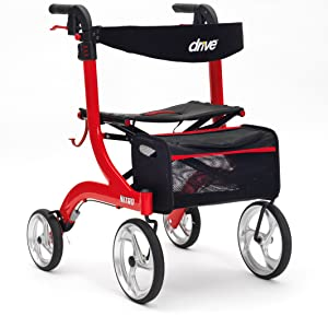 nitro rollator in red stable sturdy strong walking aid wheels basket folding brakes