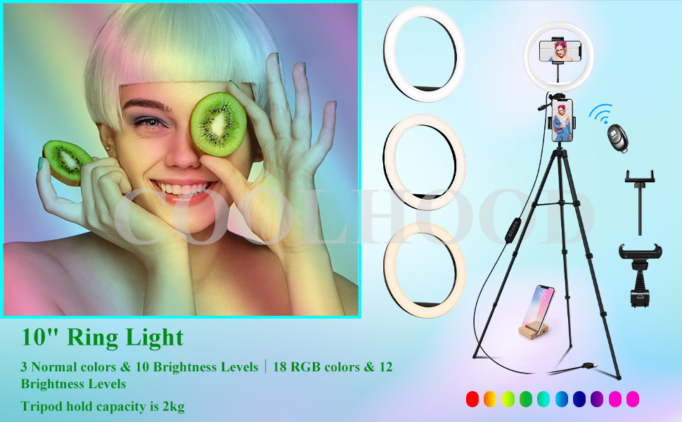 """10"""" Ring light with tripod stand & phone holder"""