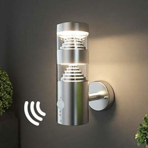 NBHANYUAN Lighting® LED Outdoor Wall Light with PIR Sensor Sainless Steel Outside Wall Lamp for Garden Wall Fixture 3000K White Mains Powered 220-240V 9.5W IP44 1000LM (LED Bulbs Included)            [Energy Class A+]