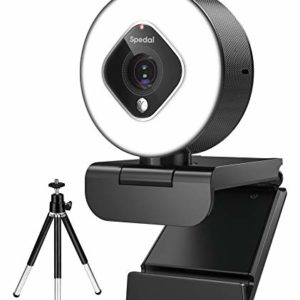 Webcam with Ring Light and Zoom Lens