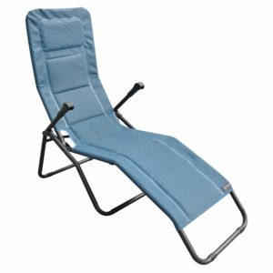 Homecall XXL Lounger extra height and width 4*4 textilene padded with quick dry foam blue