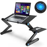 Extra Wide Adjustable Laptop Stand Desk with Cooling Fan & Mouse Pad for 17 Inch Computer