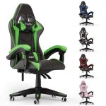 bigzzia Gaming Chair Office Chair Desk Chair Swivel Heavy Duty Chair Ergonomic Design with Cushion and Reclining Back Support (Green and Black)