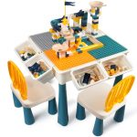AMOSTING Kids Activity Height Adjustable Table and 2 Chair Set ,include 100Pcs Large Size Blocks Compatible with big blocks. Non-toxic and durable plastic Toy Storage for kids.