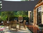 HENG FENG 3 x 4 m Rectangle Sun Shade Sail Canopy Awning 185gsm HDPE 95% UV Block for Outdoor Patio Garden Anthracite